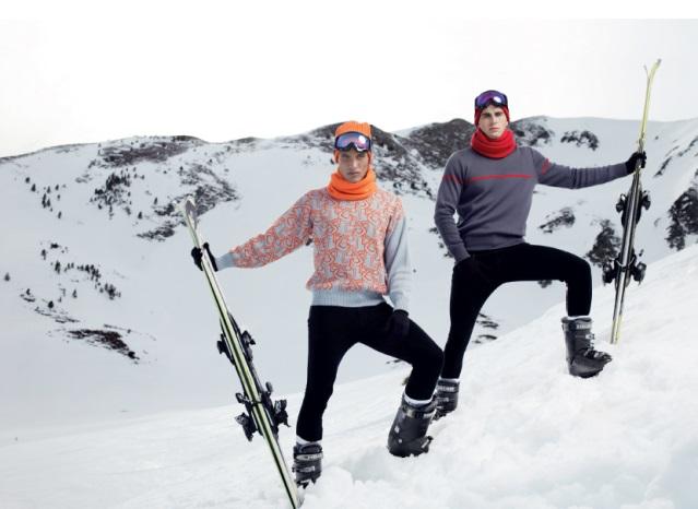skieurs avec pulls et accessoires Pic de Nore